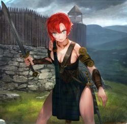 1girl alternate_costume aos_libido armband armlet armor armored_dress bangs belt blue_eyes boudica_(civilization) boudica_(fate/grand_order) breast_squeeze breasts celtic_knot civilization_(series) civilization_v cleavage cloud cloudy_sky corset cowboy_shot defensive_wall fate/grand_order fate_(series) fortification grass hair_between_eyes hill holding holding_sword holding_weapon jewelry landscape large_breasts looking_at_viewer multiple_swords neck_ring open_mouth outdoors palisade red_hair serious sheath sheathed short_hair sky solo stone_wall strap sword thighs tied_hair vambraces wall war_paint watchtower weapon