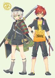 2boys :d aizen_kunitoshi armor artist_name bandaid bandaid_on_nose cape cropped_jacket gradient_clothes green_background green_eyes grey_legwear hand_on_hip hat hotarumaru jacket japanese_armor katana male_focus multiple_boys no_socks open_clothes open_jacket open_mouth orange_shirt pants pants_rolled_up red_hair sakura_neko sheath sheathed shirt shoes short_shorts shorts signature silver_hair simple_background sleeves_rolled_up smile sode sword touken_ranbu weapon yellow_eyes yellow_shirt