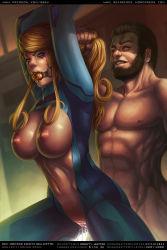 1boy 1girl ball_gag bdsm beard blue_eyes bondage breasts forced hair_pull metroid nipples pussy pussy_juice rape sabudenego saliva samus_aran sex slave tears uncensored zero_suit