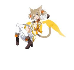 1girl alternate_costume animal_ears brown_eyes brown_hair cat_ears cat_tail gloves hair_ribbon highres holding long_hair official_art open_mouth orange_ribbon ribbon silica silica_(sao-alo) simple_background solo sword_art_online sword_art_online:_code_register tail thighhighs twintails white_background white_gloves white_legwear