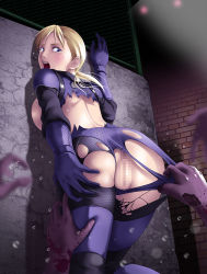 1girl ass blonde_hair blue_eyes bodysuit breasts censored jill_valentine large_breasts long_hair mosaic_censoring open_mouth out_of_frame ponytail pussy_juice resident_evil solo_focus tears thor_(deep_rising) torn_clothes zombie