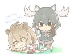 >:> 2girls :> :3 animal_ears antlers ball baseball_bat black_footwear black_hair black_legwear black_vest brown_eyes brown_scarf brown_skirt chibi clenched_hands collar commentary_request dot_nose full_body fur_collar gradient_legwear hair_between_eyes hand_on_own_chin holding holding_ball kemono_friends light_brown_hair lion_(kemono_friends) lion_ears lion_tail long_hair long_sleeves looking_at_viewer lowres lying maora_oto moose_(kemono_friends) moose_ears moose_tail multicolored multicolored_clothes multicolored_legwear multiple_girls necktie on_side pantyhose plaid plaid_necktie plaid_skirt pleated_skirt red_skirt scarf shirt signature simple_background skirt sleeveless smile standing tail thighhighs translation_request tsurime two-tone_legwear vest wavy_hair white_background white_footwear white_legwear white_shirt