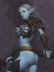 armor artist_request ass blue_skin breasts dark_elf elf highres huge_ass large_breasts lineage lineage_2 long_hair pointy_ears silver_hair