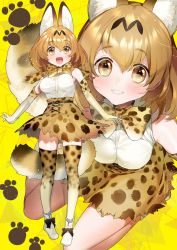 1girl :d animal_ears ankle_boots bangs bare_shoulders belt black_bow blush boots bow bowtie breasts brown_boots brown_hair cat_ears cat_tail cross-laced_clothes elbow_gloves eyebrows_visible_through_hair gloves grin hair_between_eyes kemono_friends legs_apart light_brown_hair looking_at_viewer multiple_views no_legwear open_mouth paw_print pigeon-toed serval_(kemono_friends) serval_ears serval_tail shiny shiny_hair short_hair sitting skirt sleeveless smile standing tail thighhighs triangle unaligned_breasts wariza yan'yo_(yan'yan'yo) yellow_background yellow_eyes zettai_ryouiki