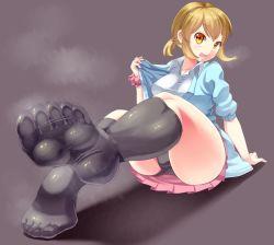1girl arm_support black_legwear blonde_hair feet lass_(pokemon) looking_at_viewer no_shoes pokemon pov pov_feet short_hair sitting soles steam toes upskirt