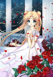 1girl absurdres airbrush_(medium) bangs bishoujo_senshi_sailor_moon blonde_hair blue_eyes blurry depth_of_field detached_sleeves double_bun dress facial_mark floating_hair flower forehead_mark highres jewelry latealatea leaf long_hair looking_at_viewer open_mouth parted_bangs parted_lips pearl petals pillar princess_serenity red_rose rose rose_petals short_sleeves smile solo sparkle strapless_dress tsukino_usagi twintails very_long_hair white_dress