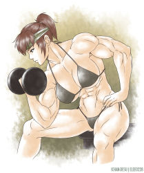 1girl abs biceps bikini breasts brown_eyes brown_hair daimon_akiko elee0228 female headband ichan-desu muscle ponytail solo sweat swimsuit taisen_hot_gimmick taisen_hot_gimmick_4ever weightlifting weights