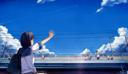 6+girls bag black_hair bridge brown_hair cloud multiple_girls original school_bag school_uniform serafuku skirt sky waving yokaze_japan