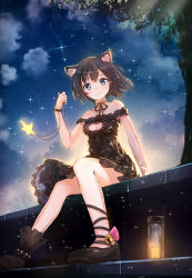 1girl animal_ears anklet artist_name backlighting bare_legs bare_shoulders bell black_hair black_ribbon black_shoes bloom blue_eyes bottle bracelet breasts byakuya_reki cat_cutout cat_ears choker cleavage cleavage_cutout collarbone dress foreshortening highres holding_necklace jewelry jingle_bell looking_at_viewer necklace night off-shoulder_dress off_shoulder original outdoors pearl_bracelet pendant plant ribbon ribbon_choker shoes short_hair sitting sky smile solo sparkle star star_(sky) starry_sky starry_sky_print tree