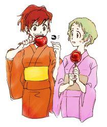 2girls brown_hair candy_apple eating female_protagonist_(persona_3) hair_ornament hairclip japanese_clothes kimono multiple_girls persona persona_3 persona_3_portable short_hair sutei_(giru) yamagishi_fuuka yukata