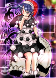 1girl blue_eyes blue_hair doremy_sweet dress glowing glowing_eye hat heterochromia highres nightcap pointy_ears pom_pom_(clothes) prehensile_hair shirt short_hair skirt skull smile solo tail teikoku_gensui touhou