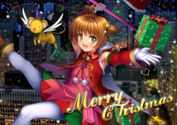 1girl bare_shoulders blush brown_hair cape card_captor_sakura detached_sleeves dress fuuin_no_tsue gift gloves green_eyes hat highres kero kinomoto_sakura looking_at_viewer magical_girl mutsuki_(moonknives) night night_sky open_mouth outstretched_arms party_hat scenery short_hair sky smile snow solo spread_arms two_side_up wand