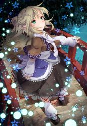 1girl arm_warmers blonde_hair bridge green_eyes mizuhashi_parsee pointy_ears sash scarf shirt short_sleeves skirt solo touhou toutenkou