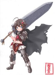 1girl ahoge alternate_costume armor artist_name berserk blue_eyes brown_hair cape dragonslayer_(sword) fingerless_gloves gloves guts guts_(cosplay) hair_flaps hair_ornament highres kanon_(kurogane_knights) kantai_collection knife looking_at_viewer midriff navel remodel_(kantai_collection) shigure_(kantai_collection) solo sword weapon