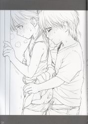 1boy 1girl anal blush clothed_sex eyes_closed heavy_breathing loli monochrome rustle sex shota standing straight_shota sweat