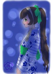 1girl alternate_costume brown_hair green_eyes hair_ribbon heterochromia japanese_clothes kimono kleine_erdbeere long_hair open_mouth ponytail ribbon rozen_maiden signature solo suiseiseki tagme yukata