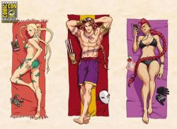 1boy 2girls abs ahoge armlet arms_behind_head arnold_tsang ass balrog barefoot beach_towel bikini black_bikini blonde_hair bodypaint braid breasts cammy_white camouflage claw_(weapon) cocktail_glass collage crab crimson_viper cup dakimakura digital_media_player drinking_glass earbuds earphones feet gloves_removed green_bikini hand_on_own_ass huge_ahoge lips long_hair lying mask mask_removed mature medium_breasts multiple_girls muscle odd_one_out on_back on_stomach red_hair shirtless shorts side-tie_bikini single_braid small_breasts soles street_fighter sunglasses sunglasses_on_head swimsuit tan tattoo toes towel twin_braids udon_entertainment very_long_hair weapon wide_hips