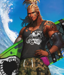 1boy alternate_costume artist_request beard blonde_hair bracelet card_(medium) cedric_(chaos_online) chaos_heroes_online cornrows cowboy_shot cross cross_necklace earrings facial_hair facial_tattoo green_eyes hand_on_hip highres jewelry lens_flare looking_at_viewer male_focus muscle official_art outdoors parted_lips ring skull sky solo surfboard tank_top tattoo water waves