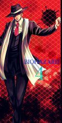 1boy blonde_hair brown_hair formal hat highres leon_s_kennedy resident_evil resident_evil_4 scarf solo suit tatsu_(uaiuren)