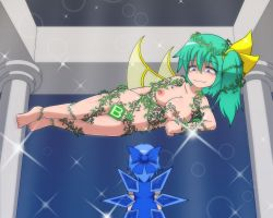 2girls areolae asheta7 blue_eyes blue_hair bow breasts censored cirno collarbone constricted_pupils cosplay daiyousei floating from_behind giantess great_fairy great_fairy_(cosplay) green_eyes green_hair groin hair_bow hips ice ice_wings large_breasts looking_down looking_up md5_mismatch mound_of_venus multiple_girls navel nipples nude parody pillar plant shaded_face short_hair size_difference smirk sparkle the_legend_of_zelda touhou vines wings you_gonna_get_raped