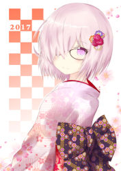 1girl 2017 alternate_costume artist_request checkered checkered_background fate/grand_order fate_(series) floral_background floral_print flower glasses hair_flower hair_ornament hair_over_one_eye japanese_clothes kimono purple_eyes purple_hair sash shielder_(fate/grand_order) short_hair smile solo