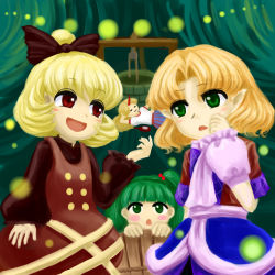 4girls :3 arm_support arm_warmers blonde_hair bottle bow brown_dress bucket cave dress facing_viewer faux_traditional_media fireflies green_eyes green_hair hair_bow hand_on_own_face hand_on_own_stomach horn hoshiguma_yuugi in_bucket in_container kisume kurodani_yamame layered_dress long_hair long_sleeves looking_at_another lying mizuhashi_parsee multiple_girls open_mouth pointy_ears ponytail raised_hand red_eyes scarf short_hair short_sleeves touhou well yuki-ichigo