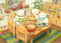bear bird brick_wall chair food indoors kettle kitchen no_humans onigiri original penguin plant polar_bear potted_plant sitting slippers_removed st.kuma stove table traditional_media watercolor_(medium)