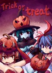 3girls aqua_hair blue_hair blue_skin breasts candy candy_cane capelet ceres chocolate cleavage convenient_censoring elbow_gloves feathered_wings feathers gloves glowing glowing_eyes halloween hat highres horns large_breasts multicolored_hair multiple_girls nude orange_eyes out-of-frame_censoring pointy_ears pumpkin_hat purple_eyes red_eyes red_hair ryou_eno tattoo tattooed_breast trick_or_treat vesta wings witch_hat zombie