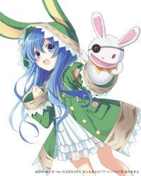 1girl animal_costume animal_ears blue_eyes blue_hair bunny_costume bunny_ears date_a_live konoe_(vis9191) long_hair simple_background smile solo yoshino_(date_a_live) yoshinon