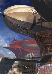6+boys 6+girls aircraft airship bridge cloud crate dirigible highres multiple_boys multiple_girls original pixiv_fantasia pixiv_fantasia_t sky town virus76 wind zeppelin