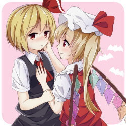 2girls arm_grab blonde_hair blush embarrassed flandre_scarlet hair_ribbon hand_on_another's_face highres multiple_girls pokio red_eyes ribbon rumia shirt short_hair short_sleeves side_ponytail skirt smile touhou vest wings yuri