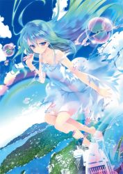 1girl absurdres barefoot blue_dress blue_hair blush bubble closed_mouth cloud collarbone dissolving dissolving_clothes dress dutch_angle full_body highres holding long_hair original outstretched_arm pink_eyes rainbow river shouna_mitsuishi sky smile solo sparkle sundress very_long_hair water