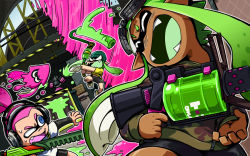 1boy 2girls beanie bike_shorts dark_skin domino_mask dutch_angle fangs goggles goggles_on_head green_hair gun hat headphones holding inkling jumping layered_clothing long_hair long_sleeves looking_back mask multiple_girls nijuumaru open_mouth oversized_object paint_roller paint_splatter pink_hair short_hair single_vertical_stripe smile sneaker splatoon sprinkler squid sweatdrop t-shirt tentacle_hair topknot weapon