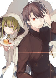 >;o 1boy 1girl bangs black_hair blonde_hair blush cake cassock cross cross_necklace diffraction_spikes food habit hair_between_eyes hand_in_hair hand_on_own_head holding holding_plate jewelry kazutake_hazano leaning_forward long_hair long_sleeves looking_at_viewer necklace nun one_eye_closed original plate red_eyes sweat upper_body veil wide_sleeves yellow_eyes