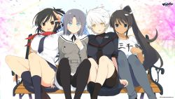 4girls asuka_(senran_kagura) bench black_hair black_serafuku blazer blue_eyes bow breasts brown_hair cherry_blossoms copyright_name dark_skin denim emblem hair_ornament high_ponytail highres homura_(senran_kagura) huge_breasts jeans large_breasts legs_up long_hair miyabi_(senran_kagura) multiple_girls necktie open_mouth pants pleated_skirt ponytail ribbon school_uniform senran_kagura senran_kagura_(series) senran_kagura_shinovi_versus serafuku serious short_hair short_ponytail sitting sitting_on_object skirt smile t-shirt tan_skin thighhighs very_long_hair white_hair yaegashi_nan yellow_eyes yumi_(senran_kagura) zettai_ryouiki