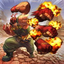 1boy afterimage bandanna bared_teeth brolo combat_boots explosion explosive fingerless_gloves gloves grenade king_of_fighters load_bearing_vest military muscle punching ralf_jones shirtless solo