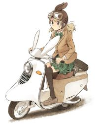 1girl animal_ears black_legwear blazer blonde_hair bow bowtie brown_eyes brown_jacket brown_shoes bunny_ears closed_mouth commentary_request from_side full_body goggles goggles_on_head goggles_on_headwear green_bow green_skirt ground_vehicle jacket loafers long_hair long_sleeves looking_away motor_vehicle nagatsuki_misoka original plaid plaid_bow plaid_skirt pleated_skirt riding school_uniform scooter shoes simple_background sitting skirt smile solo spare_tire thighhighs vespa white_background zettai_ryouiki
