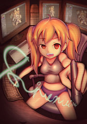 1girl artist_name bare_shoulders blonde_hair breasts chair computer cursive female holding keyboard loli long_hair looking_at_viewer monitor open_mouth original panties shirt sinonoisin sitting solo tanktop twintails underwear yellow_eyes