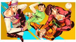 4boys bubble dixie_cup_hat gakuran hat higashikata_joushuu higashikata_jousuke higashikata_jousuke_(jojolion) highres jojo_no_kimyou_na_bouken jojolion lipstick makeup male military_hat multiple_boys nijimura_okuyasu orange_hair orange_lipstick pompadour red_hair school_uniform shikkoku_no_notto star