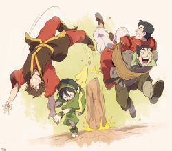 >_< 1girl 3boys ankle_wraps artist_name avatar:_the_last_airbender avatar_(series) barefoot black_hair blush blush_stickers bolin bound brown_hair eyebrows eyes_closed grandfather_and_grandson iroh_ii_(avatar) military military_uniform multiple_boys rock rope running scar t_k_g the_legend_of_korra thick_eyebrows tied_up time_paradox toph_bei_fong uniform yellow_eyes zuko