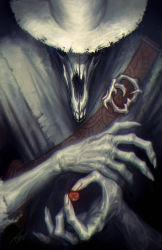 1boy adventure_time animal_skull coin death_(adventure_time) death_(entity) fingernails hands hat holding jimmy_xu male skeleton skull solo
