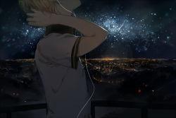 1boy ahorz blonde_hair city cityscape head_out_of_frame headphones kagamine_len male_focus night night_sky out_of_frame skyline solo star starry_sky upper_body vocaloid