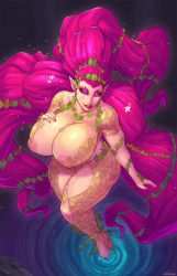breasts carmessi eyeshadow great_fairy huge_breasts lips lipstick looking_at_viewer makeup nail_polish pink_hair pointy_ears red_lipstick the_legend_of_zelda thick_thighs thighs zelda_musou