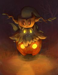 artist_request fangs ghost glowing_eyes halloween nintendo no_humans phantump pokemon pokemon_(game) pokemon_xy pumpkaboo pumpkin red_eyes resized smile yellow_eyes