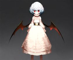 1girl alternate_costume bat_wings blue_hair blush brown_legwear detached_sleeves dress gradient gradient_background grey_background image_sample layered_dress long_sleeves looking_at_viewer no_hat no_headwear open_mouth pink_dress red_eyes remilia_scarlet sash short_hair solo suzki00 touhou turtleneck twitter_sample wings