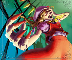 1girl ascot claws female fingernails flandre_scarlet foreshortening frame hat higashiyama_hayato laughing long_fingernails nail_polish skirt skirt_set solo the_embodiment_of_scarlet_devil touhou