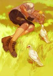 bird blonde_hair boots dio_brando eyes_closed feathers fetal_position fingerless_gloves gloves grass highres jojo_no_kimyou_na_bouken lying on_side rosutokun shade shorts sleeping