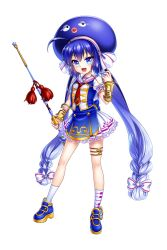 1girl :d ahoge artist_request blue_eyes blue_hair bow bracer dress fang frilled_dress frills full_body hair_bow hat holding long_hair looking_at_viewer mismatched_legwear musical_note musical_note_print necktie official_art open_mouth otomachi_una print_legwear red_necktie sailor_collar shoes short_sleeves smile socks solo transparent_background treble_clef twintails very_long_hair vocaloid wand