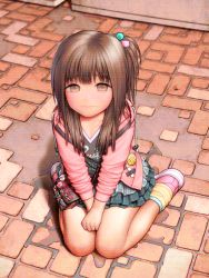 1girl blush brown_hair child flat_chest kneeling outside rustle skirt sneakers solo tagme
