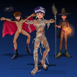 3boys bat boots broom censored cloak halloween hat multiple_boys mummy_costume penis pumpkin shota tagme takenokoya vampire_costume